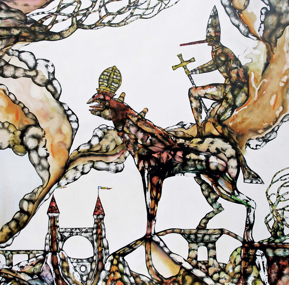 The death of Pinocchio 2007 120x120cm. Acrylic and Ink on canvas