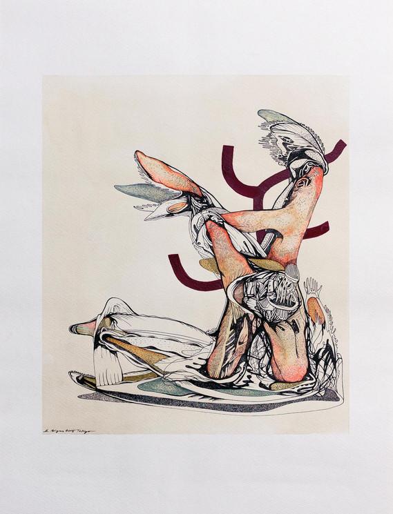 Miyajima Fumetsu no (immortal) 2018 45.5cmx55.5cm Tea, gansai and Ink on paper