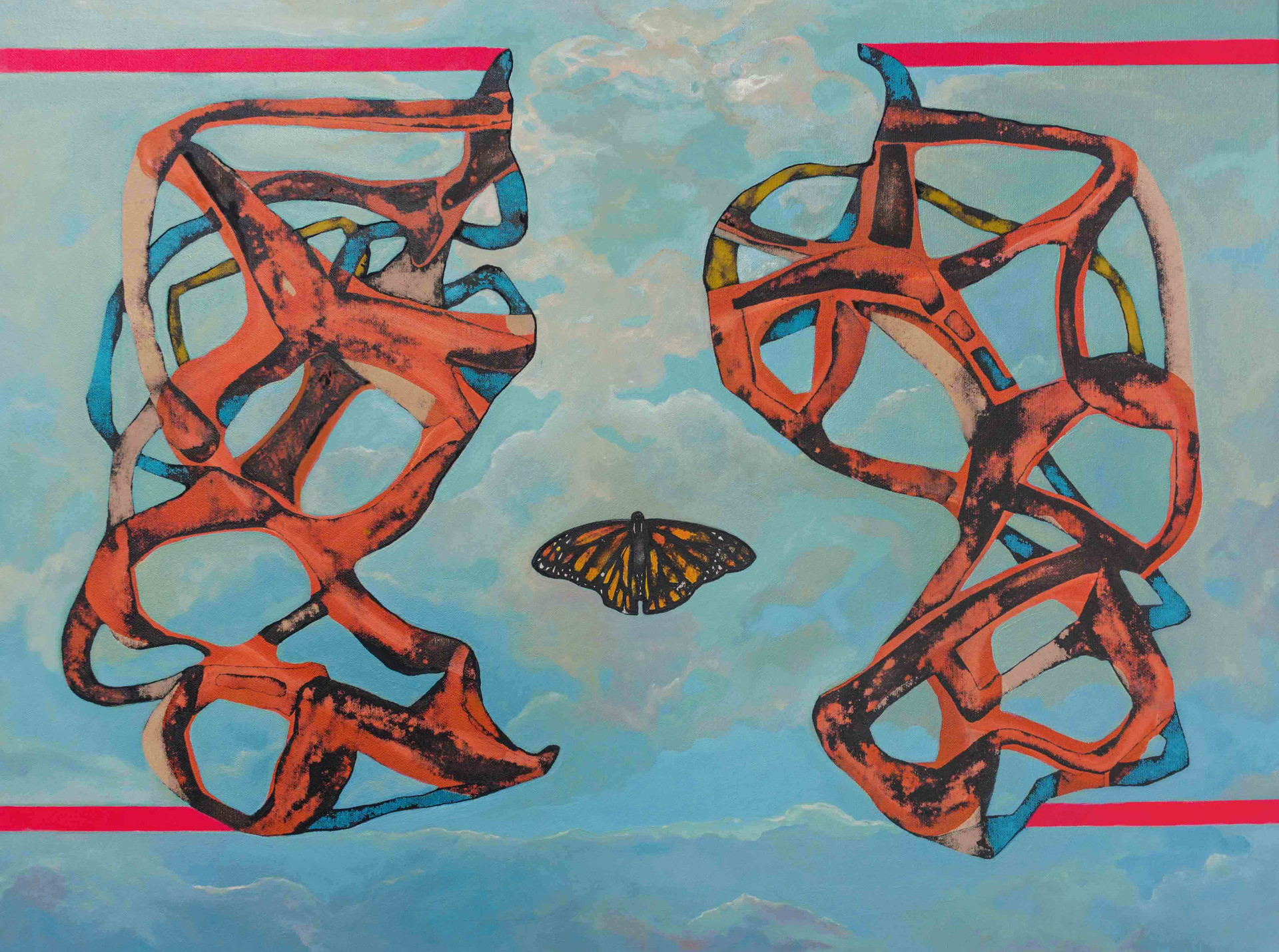 Mimesis 2014 50x70cm. Oil acrylic and Ink on canvas