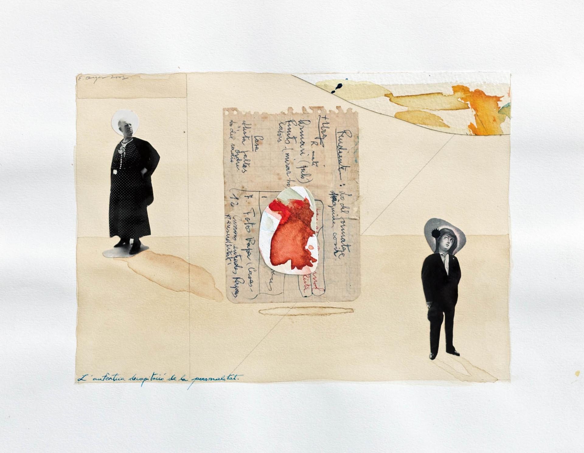 La autentica decapitacio de la personalitat 2001 30'5x24cm Collage and watercolour on paper