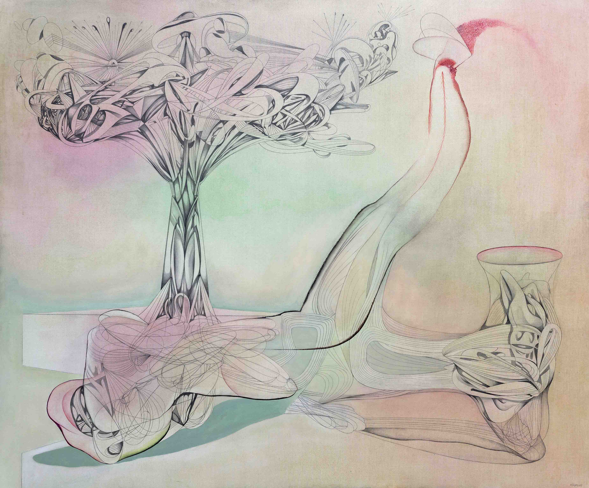 I talk to the Wind 2019 180x150cm  Graphite pencil, wax oil crayon, crayon and oil on canvas