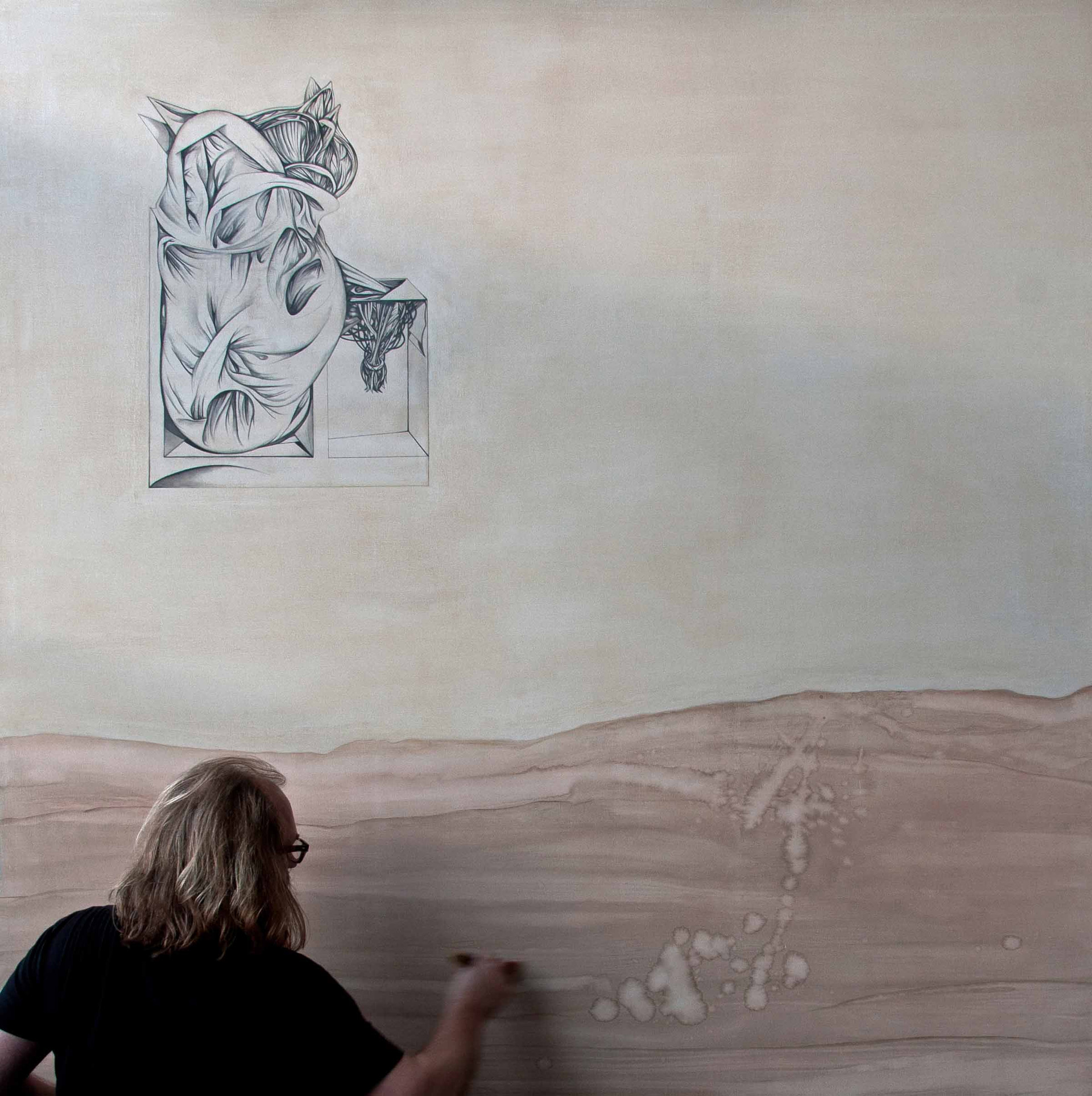 Homenatge a Frederic Mompou  2016. 200x200cm Graphite pencil and Oil on canvas