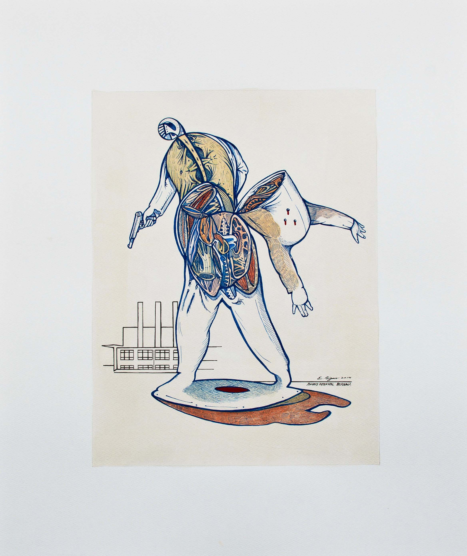 Mortal ut plurimum  2014 60x50cm. Watercolour, gouache and Ink on paper