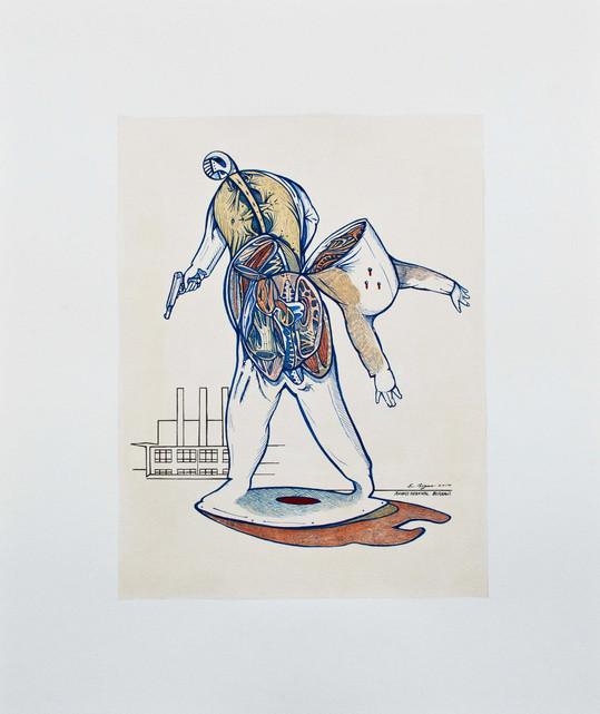 Mortal ut plurimum  2014. 60x50cm. Watercolour, gouache and Ink on canvas