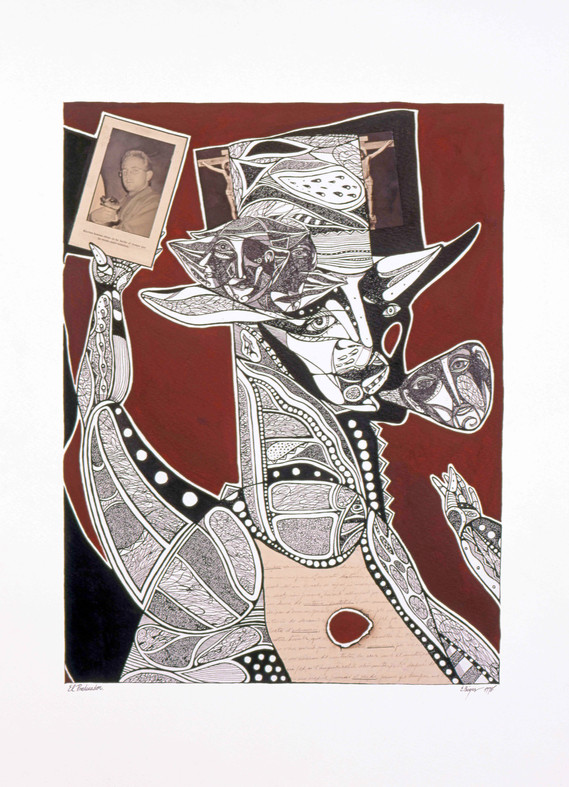 El predicador 1998 70x50cm. Oil, Ink and collage on paper