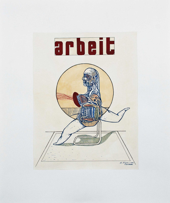 Arbeit 2014 60x50cm. Watercolour, gouache and Ink on paper