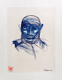 Head in blue 2014, 24x30cm Tea and Ink o
