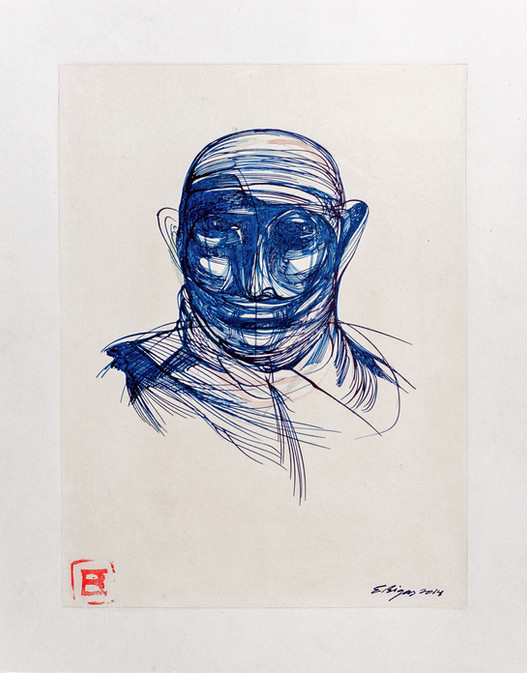 Head in blue 2014 24x30cm. Tea and Ink on paper