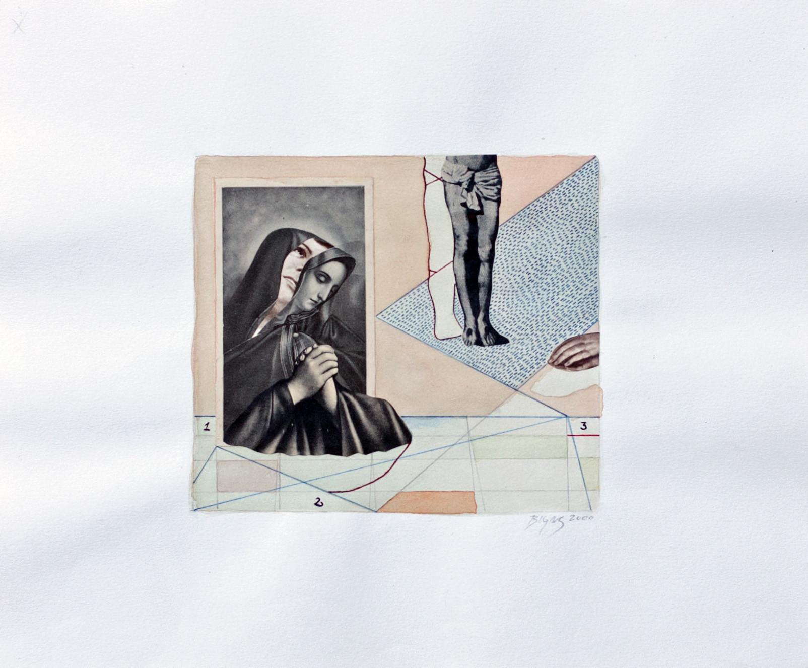 Penitencia 2000 28'5x24cm Collage and watercolour on paper
