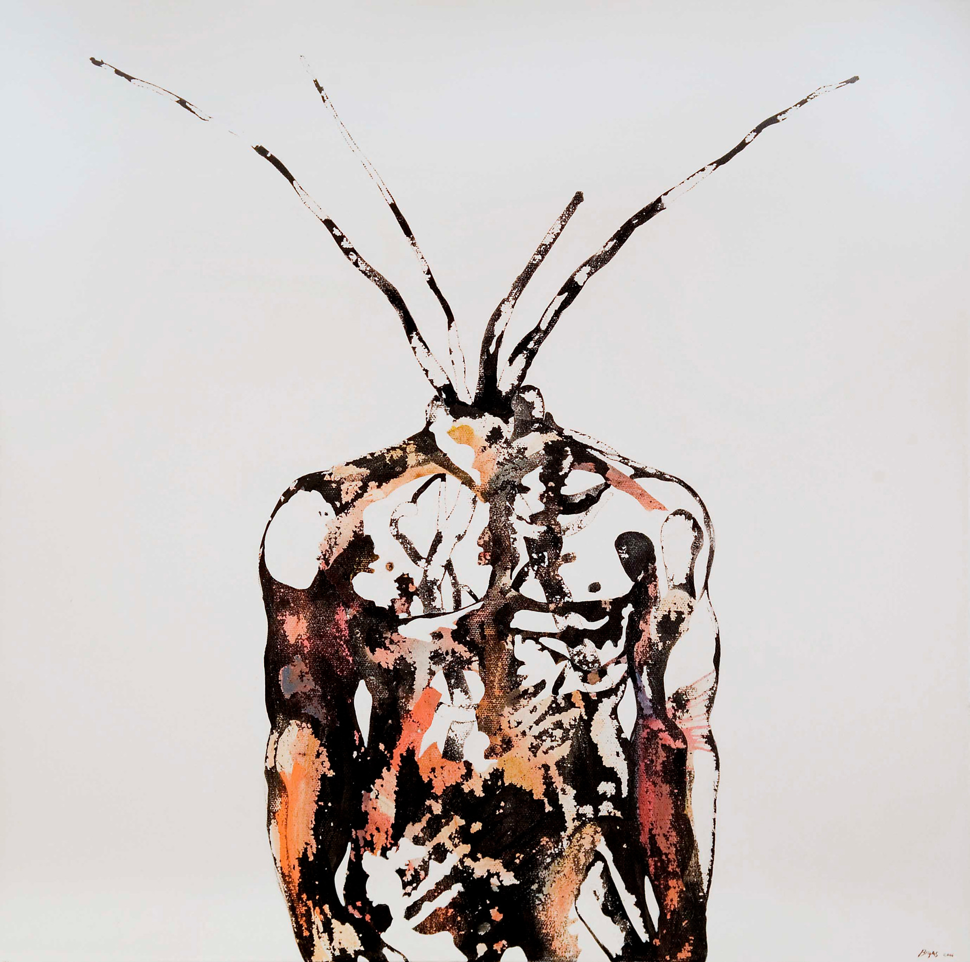 Thorax 2006 50x50cm. Acrylic and ink on canvas