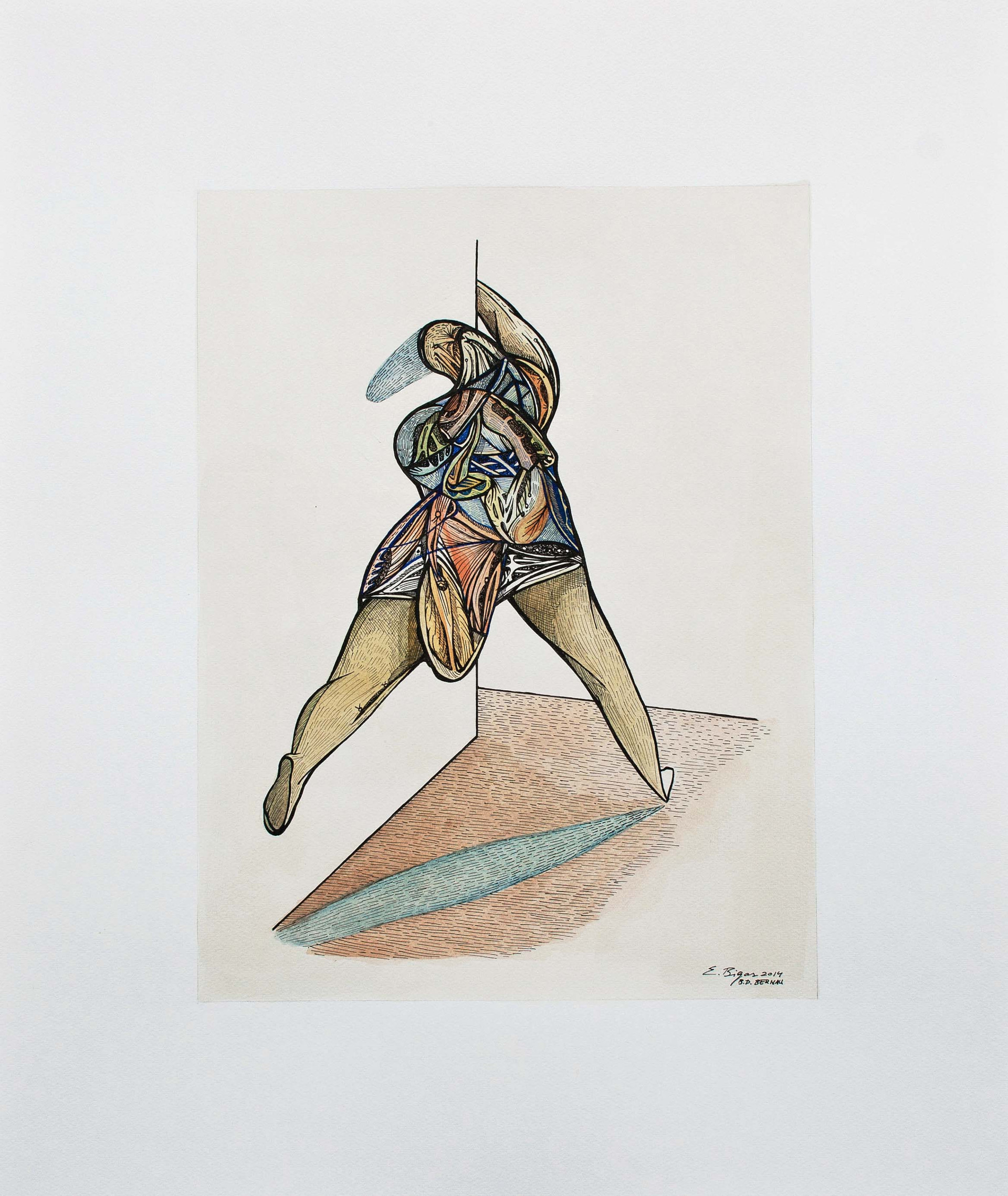 Figure  2014. 60x50cm.Watercolour and Ink on paper