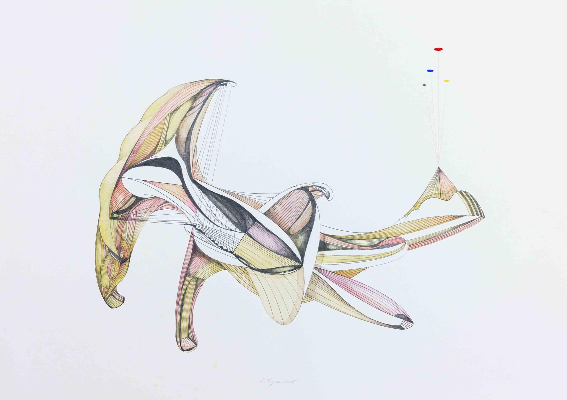 Cronus 2018 70x50cm Graphite pencil and watercolour on paper