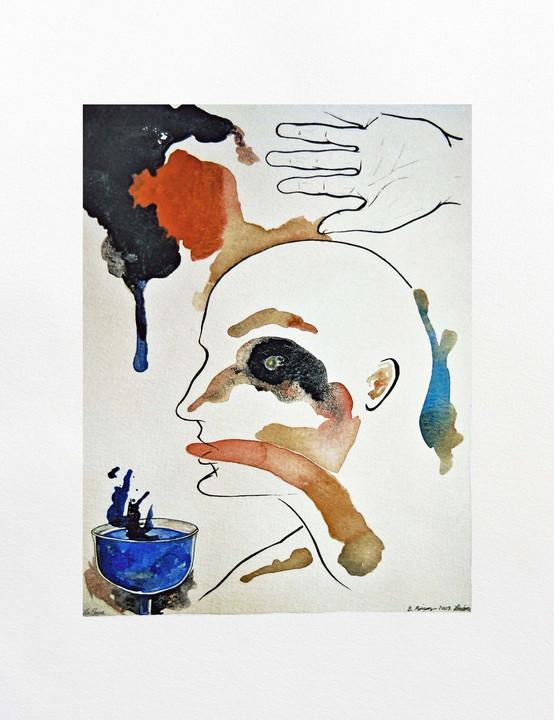 La Copa 2003 45x21'5cm. Tea, watercolour and Ink on paper