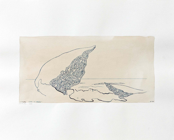 Bondi to Bronte 2000 24x29.5cm. Tea and Ink on paper