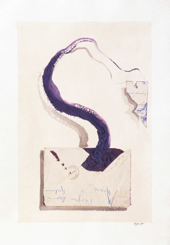 La Carta 1996 60x40cm Collage and oil paint on handmade paper