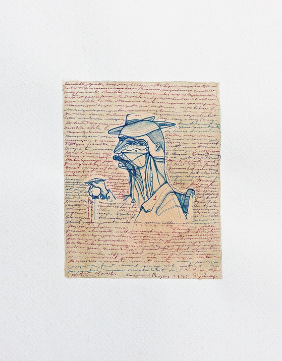 L'home-dibuix 2000 70x50cm. Tea, watercolour and Ink on paper
