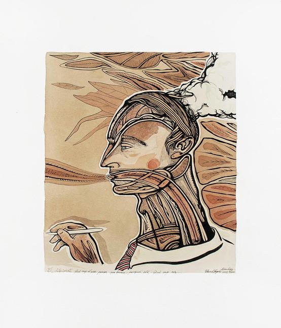 El dibuixant 2003 40'5x51cm.Tea,watercolour and Ink on paper