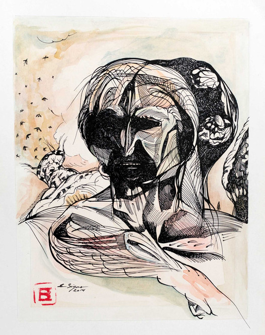 Poeta 2014 24x30cm. Tea, watercolour and Ink on paper