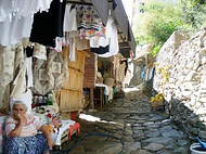 Cobbled streets and market stalls in Sirince, Izmir Province, near Ephesus, Turkey