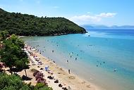 Kusadasi beach, sandy beaches and palm trees, safe swimming, turquoise sea, Agean coast, Izmir Province, Turkey