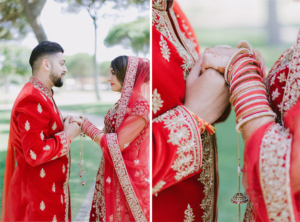 Nital an Varun selected Royal Red as their wedding Color Palette to contrast against the Portuguese Deep Blue Sky