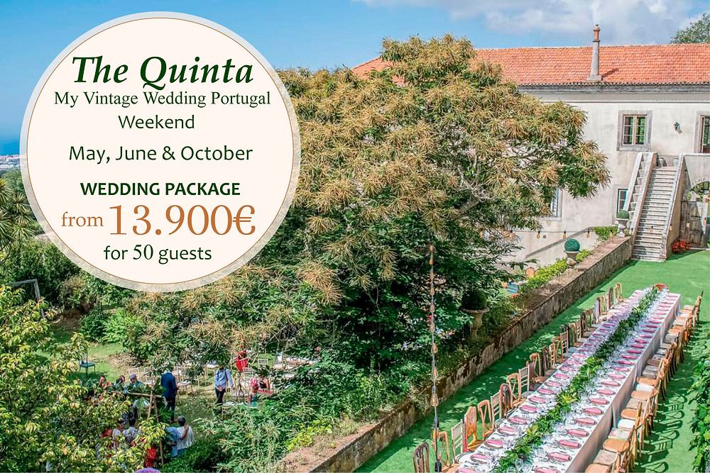 A summer outdoor wedding with a long table and vintage chairs in the garden of The Quinta My Vintage Wedding Venue Portugal