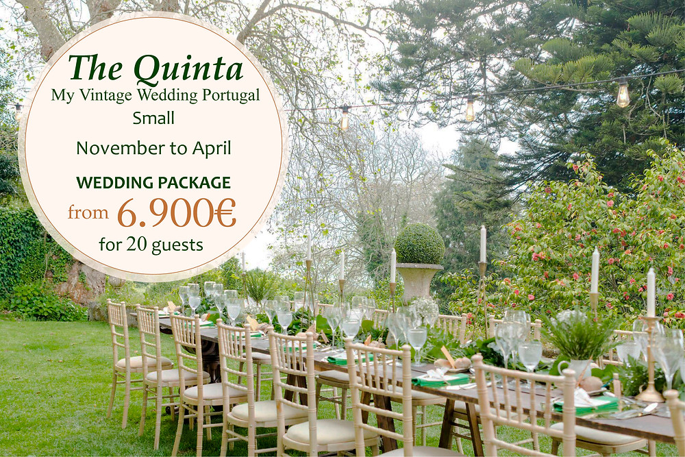 A package for a small intimate wedding with vintage and rustic decoration at The Quinta My Vintage