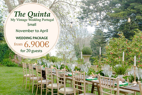 The Quinta Vintage Wedding Package - November to April 20 Guests