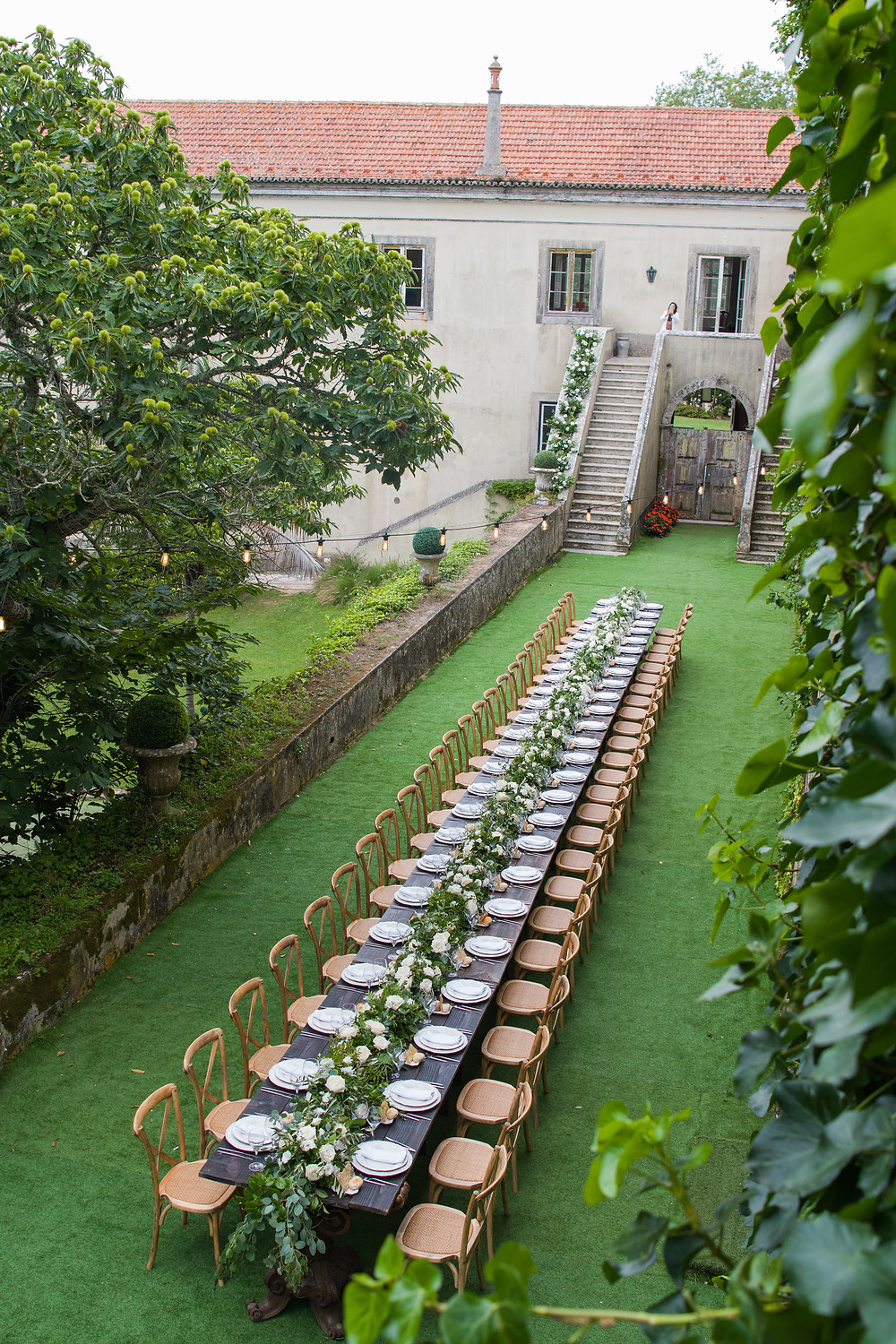 Wedding Decoration for an Outdoor garden wedding with an amazing long wood and rustic style table at The Quinta My Vintage Wedding Portugal