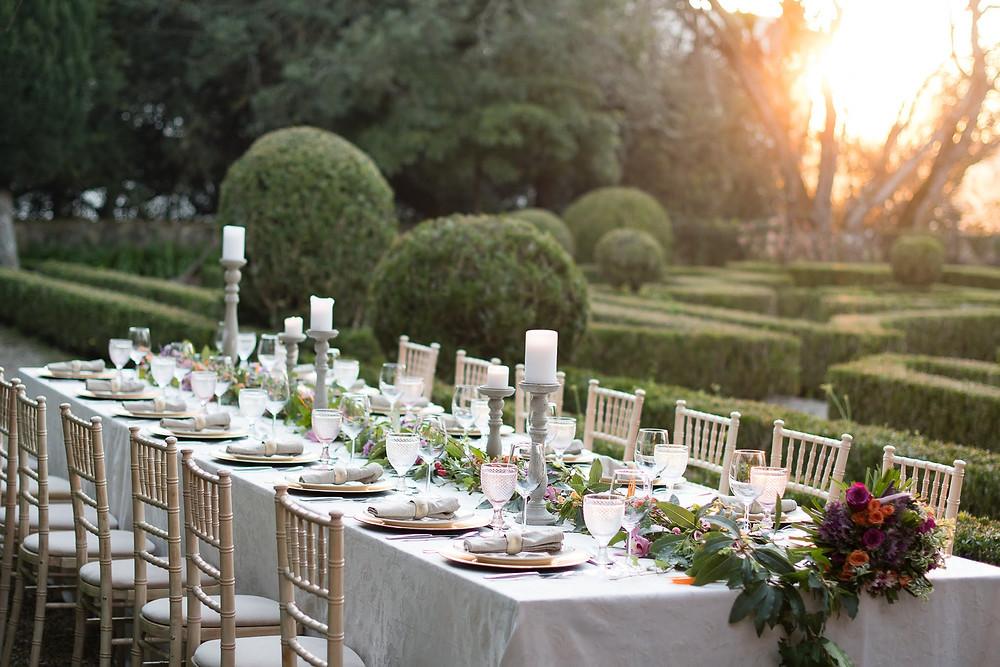 Jantar para casamento intimo no jardim frances da Quinta do Torneiro