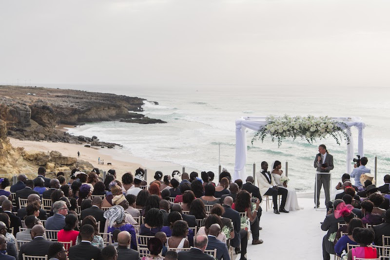 A nigerian civil wedding ceremony with ocean and beach views at Arriba by the sea Portugal