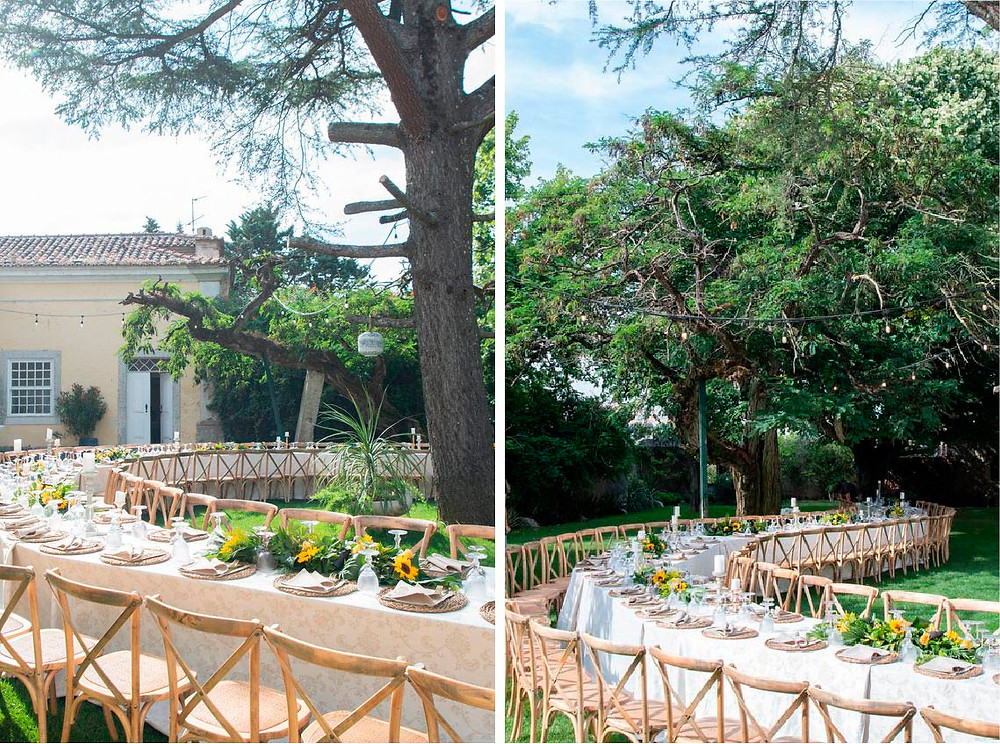 Curved and Waved wedding table for an outdoor rustic wedding at Quinta do Torneiro