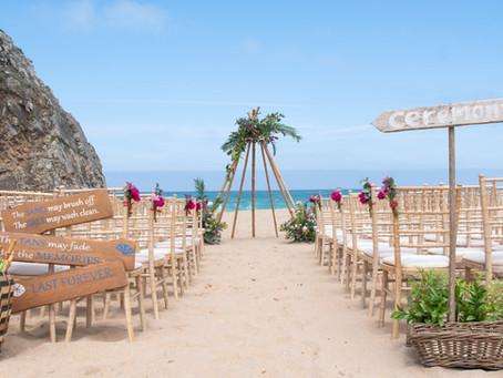 Beach wedding ceremony in Portugal