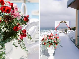 Red decor ceremony by Lisbon Wedding Planner
