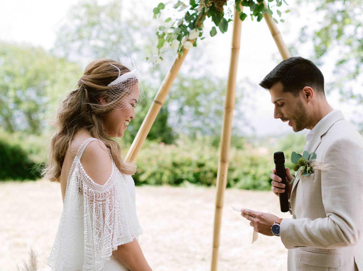 The Groom reading his Vows - Destination Woodland Outdoor Boho Rustic Destination Wedding Portugal