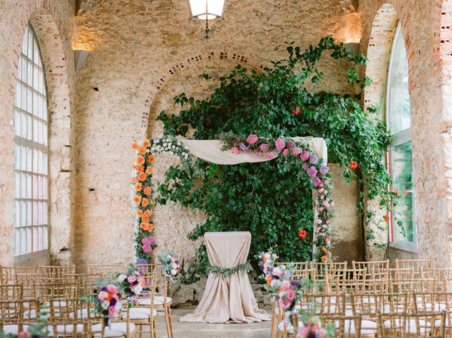 Colorful wedding ceremony at Forte ds Cruz Portugal Wedding Beach Castle.
