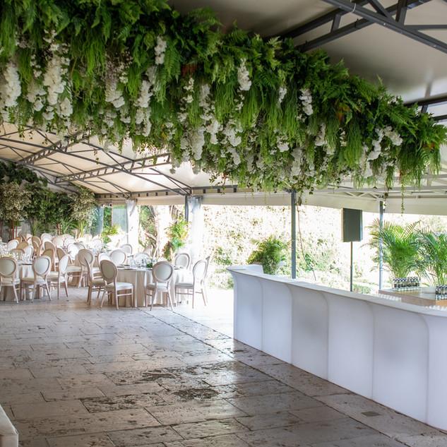 Overdekt terras/Greenhouse met het open bar concept voor uw destination wedding bij Quinta do Torneiro in Lissabon, Portugal.