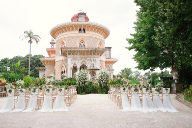 Outdoor wedding ceremony in Lisbon, Portugal