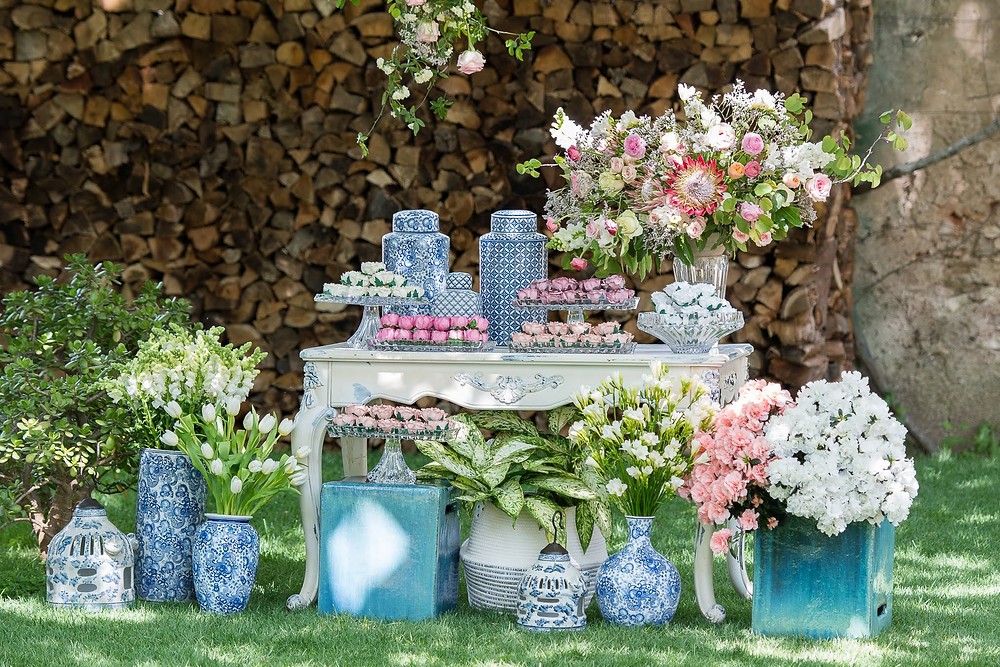 Blue tile theme fancy sweets table with a brazilian style at Quinta do Torneiro Portugal