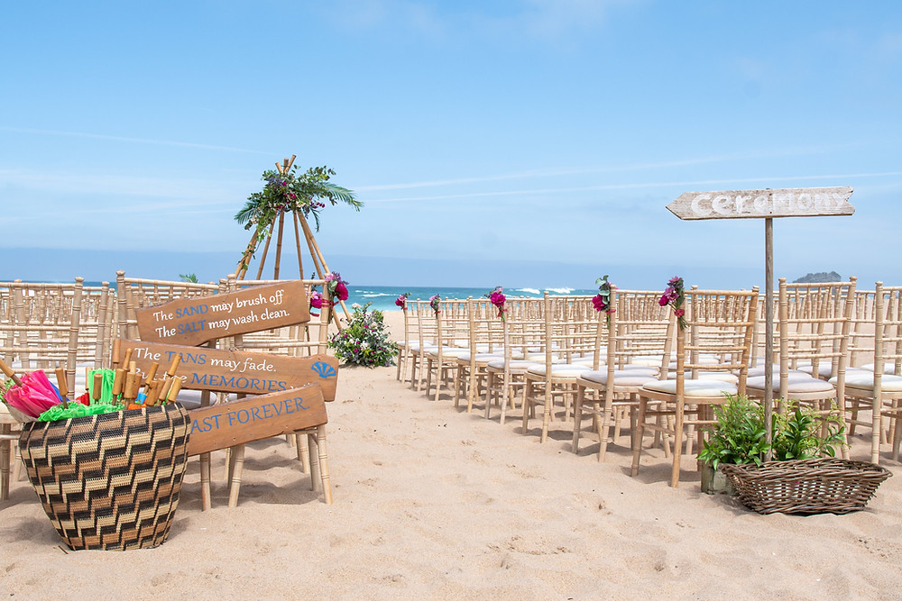 beach wedding ceremony with essentails needed for a sand wedding ceremony in Lisbon