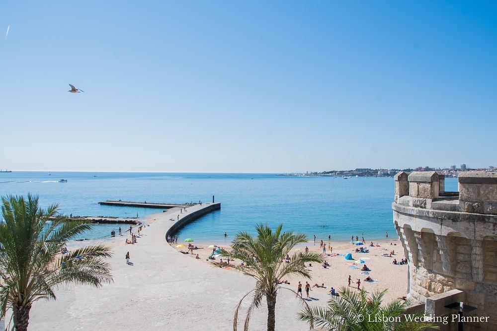 The ocean and beach views from Forte da Cruz beach castle in Estoril