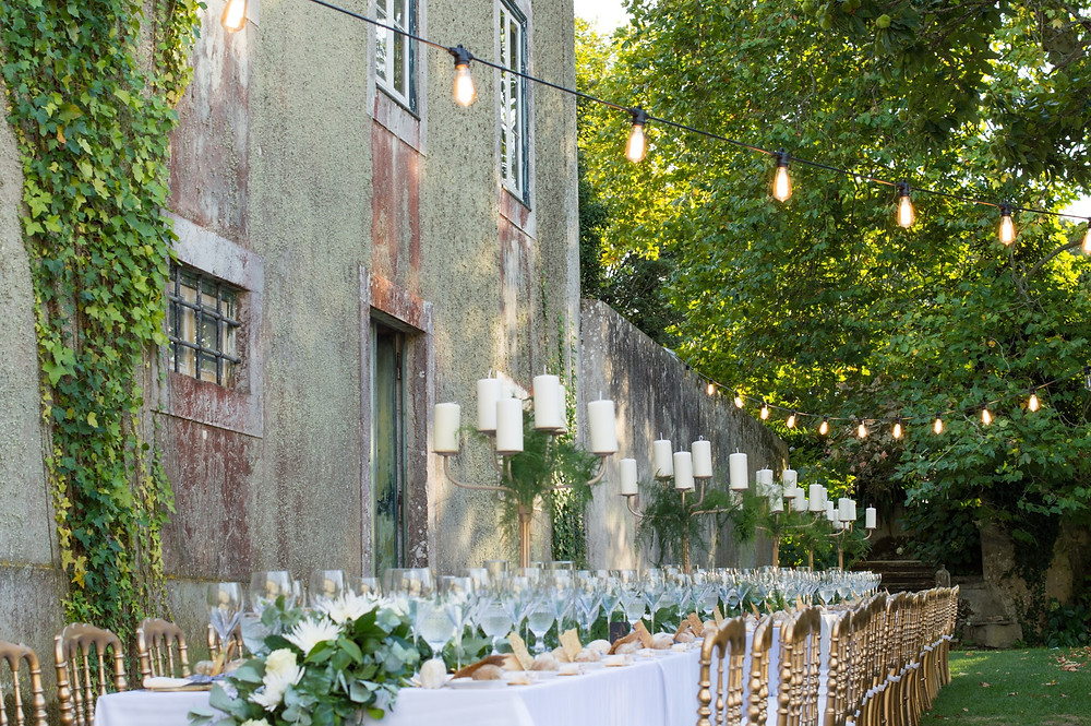 long wedding table portugal, greenery portugal, wedding planner portugal