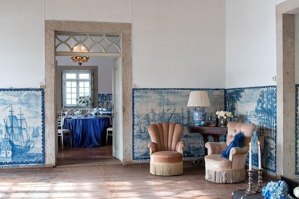 Sala das Caravelas da Quinta do Torneiro para seu casamento vintage em Portugal