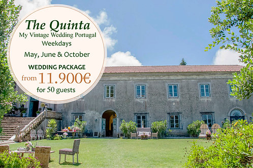 The Quinta Vintage Wedding Package - May, June & October (Weekdays) 50 Guests