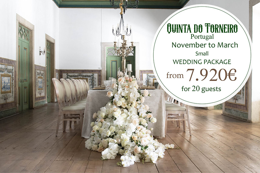 A package for a small intimate wedding in the caravel room with an elegant and simple table set up  at Quinta do Torneiro Portugal