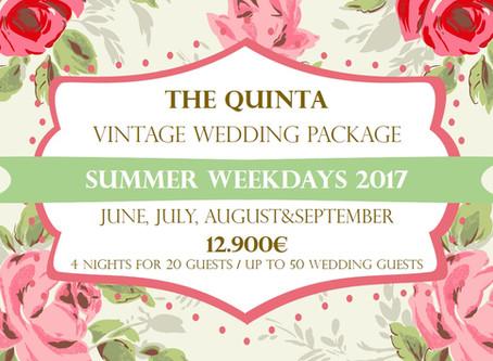 Vintage Wedding Package Portugal June to September 2017 Weekdays