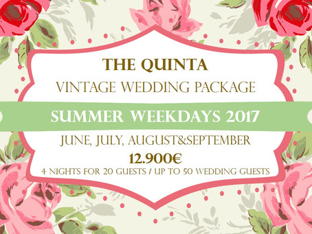 Vintage Wedding Package Portugal June to September 2017 Weekdays