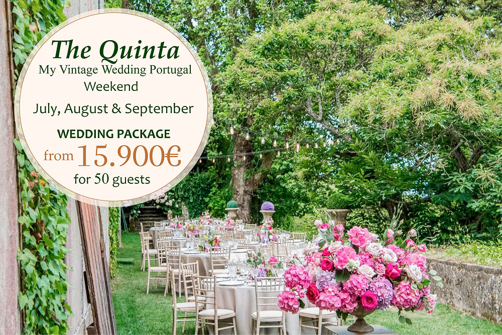 A package for an outdoor garden wedding reception and bright colors decoration at The Quinta My Vintage Wedding Venue Portugal