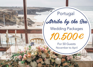 Arriba by the Sea Beach Wedding Package Off Season. from 10.500 euros to 50 guests. Ceremony, Cocktail, Reception, Wedding Cake and Open Bar Included. Food and Drinks, Flowers, Wedding Planner, Dj included.