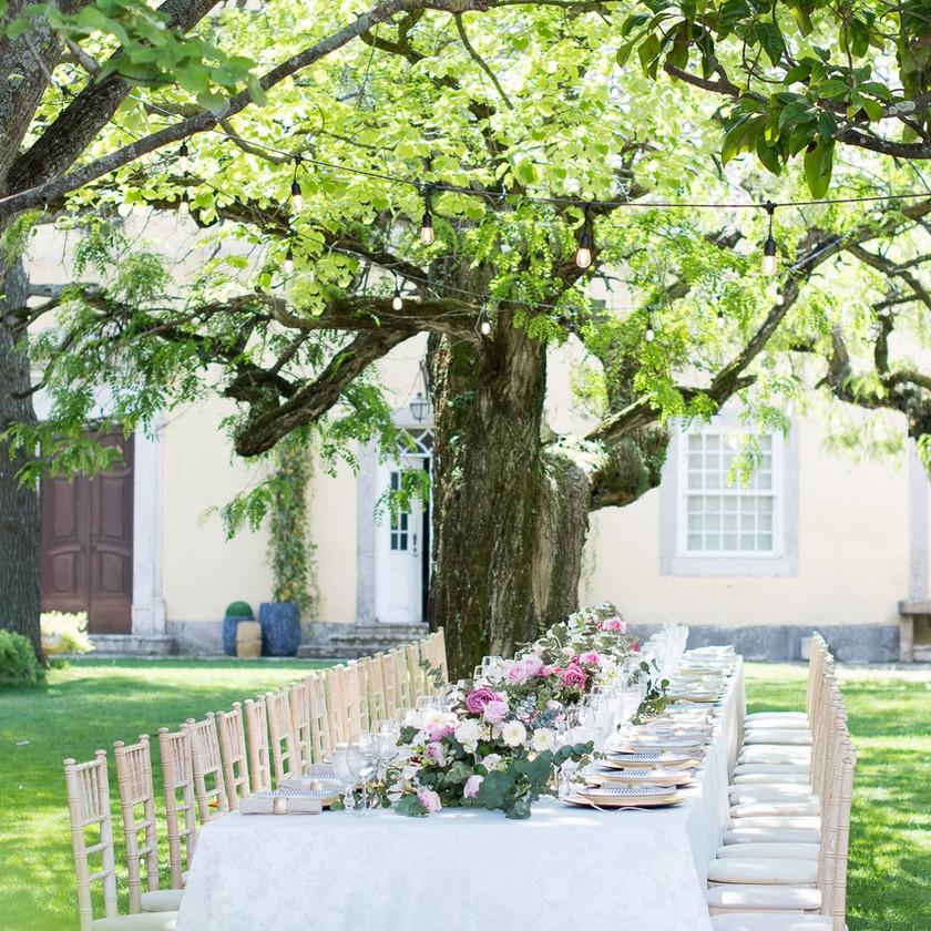 Garden Long Table Wedding Reception outside at Quinta do Torneiro